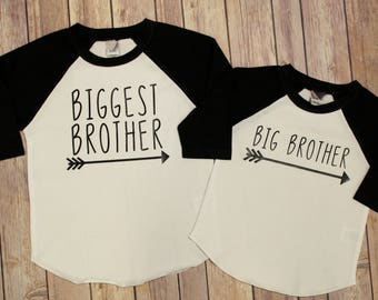 Biggest Brother Shirt, Big Brother Shirt, Brother Shirts, Big Brother, Biggest Brother, Big Bro, New Baby Announcement, Brother Raglan Shirt