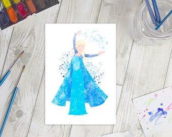 Disney Inspired Frozen Elsa Watercolour A5 Print