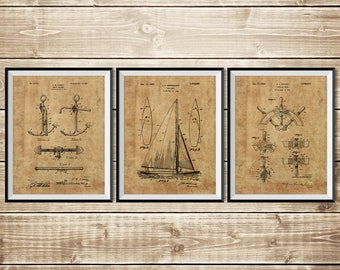 Sailboat Blueprint, Nautical Wall Art, Patent Print Group, Sailboat Art, Patent Print Set, Nautical Blueprint,Sailing Gift, INSTANT DOWNLOAD