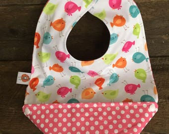 Scalable reversible bib for baby child bib bavana birds girl pink polka dots
