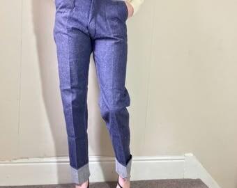 Vintage 1960s high waisted rockabilly utility denim jeans pants. Size :8/10/12