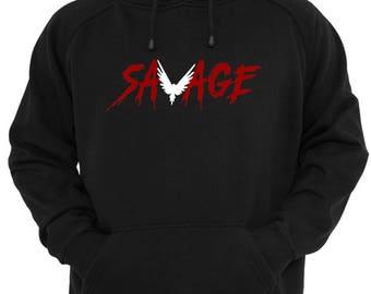 BLACK MAVERICK  hoodie Logan Paul SAVAGE red black and white