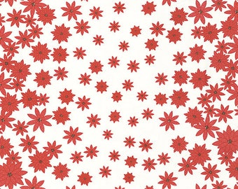 Winter's Lane Poinsettias on White 13091-16 by Kate and Birdie Paper Co. for Moda - 1/2 yd cut