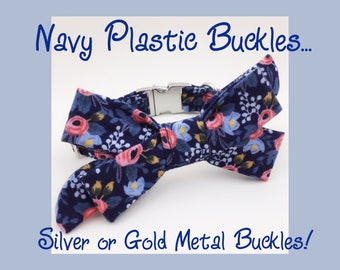 Rifle Paper Co. Navy Blue Rosa & Girly Bow Dog or Puppy Collar