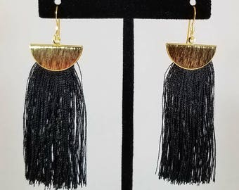 Black Tassel Earrings, Dangle Earrings, Drop Earrings, BoHo Earrings, Fringe Earrings, Tassel Jewelry