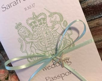 Passport & Boarding Pass Wedding Invitations in Hammered Card