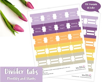 "Divider tabs (monthly and blanks) printable. Monthly divider tabs. Blank divider tabs. USLetter (8.5""x11"") Size. Instant download. PDF file."