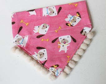 Small Dog Bandana, Pink Puppies with Pom Poms, Over-Collar/Slide-On