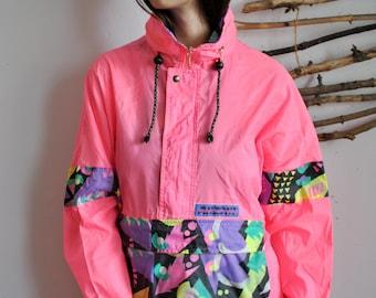 Pink outdoor anorak 1990s 1980s vintage raincoat 90s windbreaker