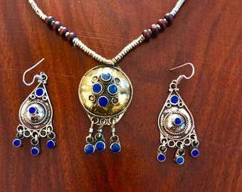 Lapis lazuli tribal necklace, lapis earrings, Afghan jewelry, boho necklace,Gypsy necklace, bohemian statement necklace, necklace set