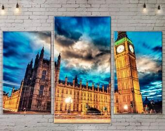 Large Print Wall Art , Art Print on Canvas, Extra Large Art, Night City, Canvas Art, Interior Art, Living Room Decor, London Big Ben