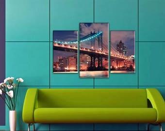 Skyline , Art Print on Canvas, Large Print Wall Art , River,Night City, Bridge, Canvas Art, Interior Art, Living Room Decor, Extra Large Art