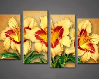 Lilies wall Art, Art Print on Canvas,Extra Large Wall Art , Canvas Art, Home Art, Living Room Flower Picture, 3 piece wall art