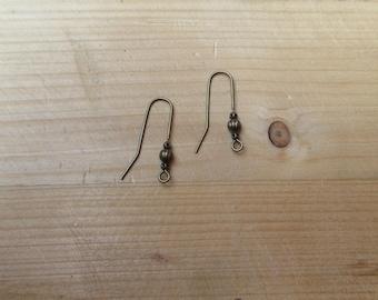 Hippy earrings bronze hooks - 1 pair