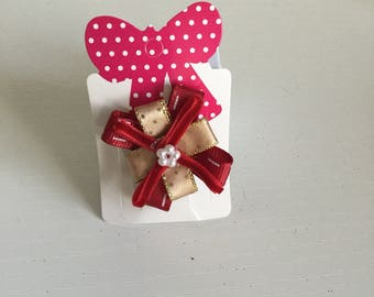 Baby's mini red & gold hair clip