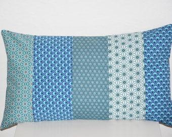 Cushion - 50 x 30 cm - Patchworh fabrics printed geometric - blue and white