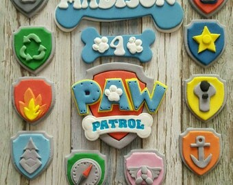 Edible Paw Patrol 9cm Cake Topper, 10 x Cupcake Topper Shields, Name and Age!