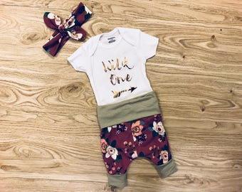 Wild One Floral Baby Girl Outfit- baby pants, floral print, floral pattern, flowers, harem pants, sage green, fushia, purple, knot headband