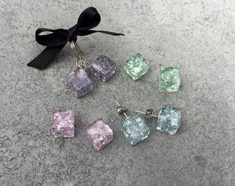 Mini Cube Earrings in Glitter and Silver Leaf Foil, Resin Earrings, Leaf Foil Jewelry, Ice Cubes, Stud Earrings, Dangle Drop Earrings