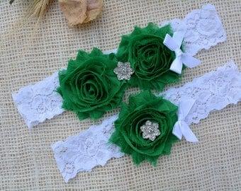 Emerald Garter, Green Garter, Garter Set, Keepsake Garter Set, Forest Green Garter, Unique Garter, White Garter Set, White Green Bridal