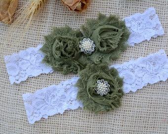 Olive Bridal Garter, Olive Garter Set, Army Bridal Garter, Wedding Garter Oliv, Army Wedding, Lace Garters, Camo Garters, Oliv Green Garter