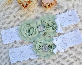 Bridal Garter Set, Mint Toss Garter, Lace Wedding Garter, Wedding Garter Belt, Linden Green Garter, Camo White Garter, Olive Garter Sets