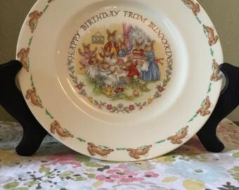"""Vintage """"Happy Birthday from Bunnykins"""" Royal Doulton Plate"""