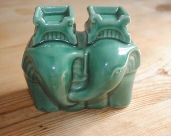Gorgeous Vintage Ceramic Pair of Elephants Green