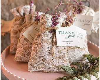 Hessian & Lace favour bags - 5 bag pack (bag only)