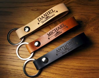 Groomsmen Gift Personalized Leather Keychain, Strong Leather Keychains - Black Matte - Brown - Natural Tan