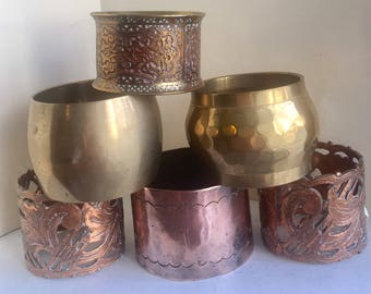 Brass and copper and mixed metals napkin rings  eclectic group