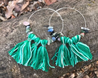 Green Fringe Hoops with Agate Chip Beads