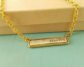 Gold and Silver Blessed Plate Necklace