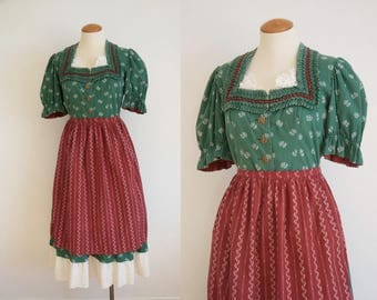 1940s Green Floral Print Dirndl Dress with Red Apron