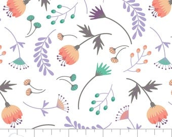 Floral Fabric: Camelot Make a Wish on The Breeze Floral White  Double Gauze Fabric Premium  100% cotton fabric by the yard (CA678)