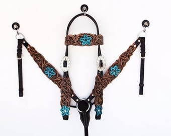 Western Horse Barrel Trail Handmade Leather Bridle Headstall Breast Collar Tack Set Made To Order