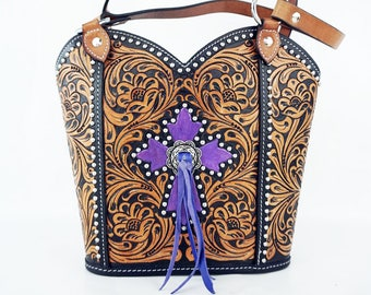 Purple Cross Handmade Classic Floral Tooled 2 Tone Leather Shoulder Hand Bag Western Style Fashion Purse