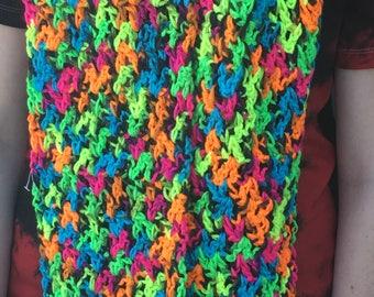 Bright Neon Crochet Scarf
