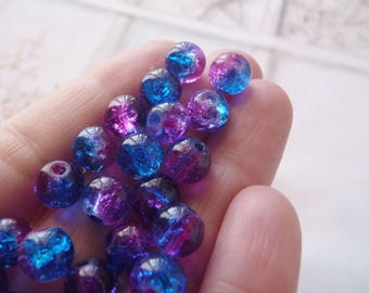 10x Crackle Glass Beads, 8mm Marbles Cracked Glass Beads, Hot Pink & Deep Blue Crackled Glass Beads, Double Color Beads, Beading Supplies