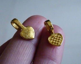 Pendant Bails, Gold Glue on Bails, Gold Color Heart Pendant Holders, Heart Shape Bails, 16x8mm Fused Glass Pendant Bails, Flat Pendant Bails