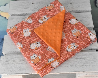 Plaid pattern owls baby blanket
