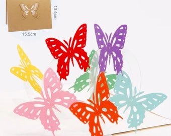 Beautiful gold and cream greeting card with 7 delicate and pretty coloured pop up butterflies inside.