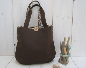 Tote Bag Brown beige coffee beans shoulder bag with handprinted wooden button