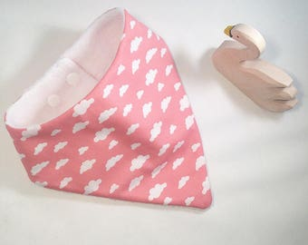 Girls pink cloud bib, bandana bib, girls cloud nursery decor