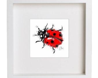 Framed ladybird print // ladybird print // bug print // insect print // ladybug print // nature print // ladybird illustration