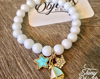 White Onyx Beaded Charm Bracelet