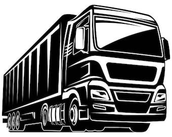 Truck Driver #4 Trucker Big Rigg 18 Wheeler Semi Tractor Trailer Cab Flat Bed Company Logo .SVG .EPS .PNG Clipart Vector Cricut Cut Cutting