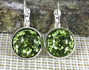 St Patrick's Day Earrings - Green Glitter Earrings - Leverback Earrings - Green Jewelry - Green Earrings - St Patricks Day Jewelry - Irish