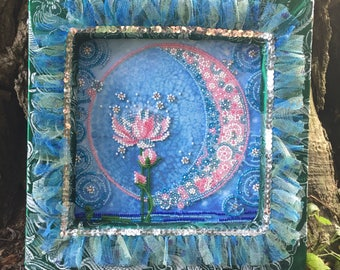 Water Queen - Hand Embroidered with Beads & Rhinestones Dimensional Picture with Decorative Picture Frame, Mixed media canvas picture