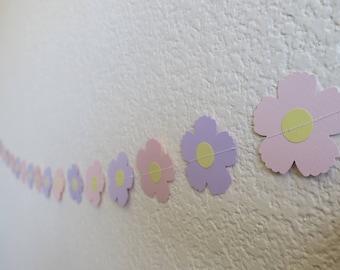 Flower Baby Girl Shower Garland pink purple banner daisy birthday floral party supplies decor